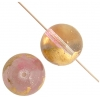Glass Bead Round 10mm 8'' strand Pink/Gold